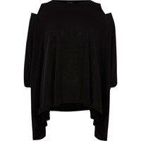 River Island Womens Black Cut Out Loose Top