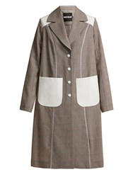 House Of Holland Prince Wales Check Power Embroidered Coat Brown Multi