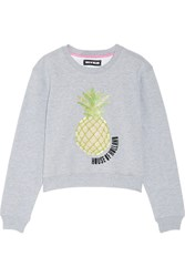 House Of Holland Embellished Cotton Blend Jersey Sweatshirt Gray