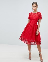 Chi Chi London Premium Lace Prom Dress With Cutwork Hem Red