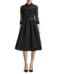 Rickie Freeman For Teri Jon Lace Full Skirt Belted Cocktail Shirtdress Black