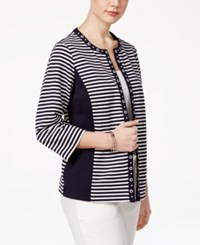 Alfred Dunner Petite Seas The Day Striped Jacket Navy White
