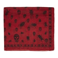 Alexander Mcqueen Red And Black Skull Beetle Scarf