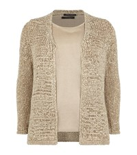 Marina Rinaldi Lurex Top And Cardigan Twinset Female Gold