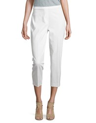 Elie Tahari Solid Cotton Blend Cropped Pants White