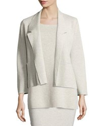 Eileen Fisher Washable Wool Short Boxy Jacket Sea Salt Natural
