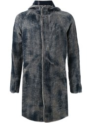 Avant Toi Dyed Hooded Coat Blue