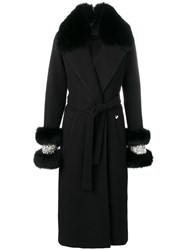 Philipp Plein Fur Detail Belted Coat Black