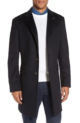 Ted Baker Men's London 'Alaska' Trim Fit Wool And Cashmere Overcoat Navy