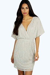 Boohoo Raluk Embellished Wrap Dress Grey