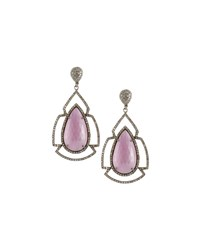 Bavna Geometric Pink Sapphire And Champagne Diamond Drop Earrings Women's