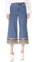 Alice Olivia Beta High Waisted Cropped Jeans Vintage Wash Multi