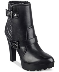 Guess Clary Quilted Platform Lug Booties Women's Shoes Black