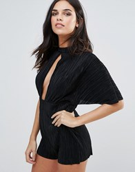 Love Pleated Kimono Sleeve Playsuit Black