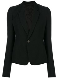 Rick Owens Single Breasted Blazer Silk Cotton Nylon Alpaca Black