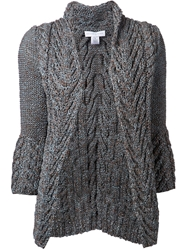 Nellie Partow Cable Knit Open Cardigan Blue