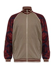 Gucci Micro Check And Paisley Print Velvet Track Jacket Brown