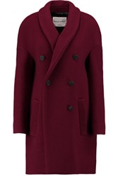 Sonia Rykiel Woven Wool Blend Coat Burgundy