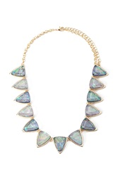 Forever 21 Geo Faux Gemstone Statement Necklace Blue Gold