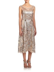 Kay Unger Metallic Cap Sleeve Cocktail Dress Bisque