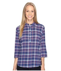 Royal Robbins Oasis Plaid Popover Top Blue Sea Women's Long Sleeve Pullover