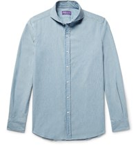 Ralph Lauren Purple Label Slim Fit Cutaway Collar Cotton Chambray Shirt Blue