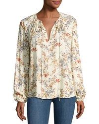 Wayf Townsend Floral Print Blouse Beige