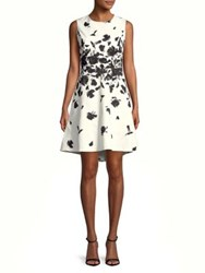 Imnyc Isaac Mizrahi Floral Crewneck Sleeveless Fit And Flare Dress Black Engineered Floral