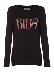 Biba Wording Crew Neck Jumper Black
