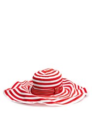 Missoni Mare Striped Cotton Blend Wide Brim Hat Red Stripe