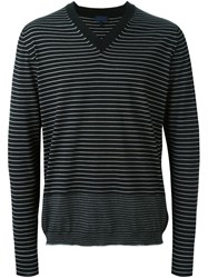 Lanvin Striped V Neck Jumper Black