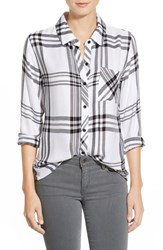 Women's Rails 'Hunter' Plaid Shirt White Black Charcoal