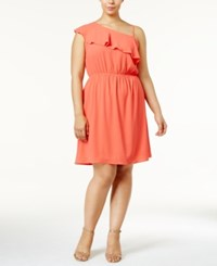 Monteau Trendy Plus Size Asymmetrical Neck Fit And Flare Dress Coral