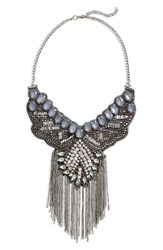 Cara Women's Crystal Chain Bib Necklace