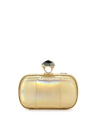 Powerstone Minaudiere Evening Clutch Hologram Gold Diane Von Furstenberg