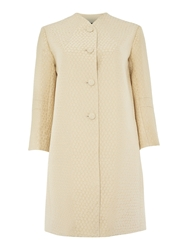 Tara Jarmon Spot Texture Collarless Coat Cream