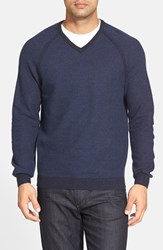 Tommy Bahama Men's 'Make Mine A Double' Reversible Pima Cotton V Neck Sweater Deep Marine