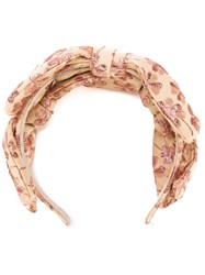 Red Valentino Jacquard Bow Hairband Nude And Neutrals