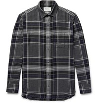 Public School Checked Flannel Shirt Charcoal