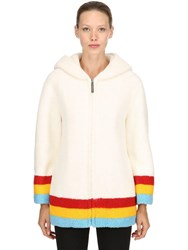 Burberry Craven Hooded Terrycloth Coat White