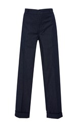 Tory Burch Etta Cuffed Denim Trouser Blue