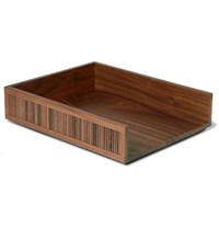 Linley Tambour Walnut Desk Tray Brown