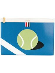 Thom Browne Small Zipper Tablet Holder 29.5X20cm With Tennis Ball Blue