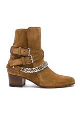Amiri Chain Buckle Suede Boots In Brown