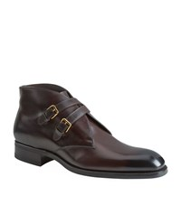 Tom Ford Edward Leather Crossover Monk Strap Boot Male