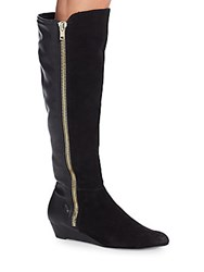 Ellen Tracy Stillano Leather And Suede Demi Wedge Boots Black