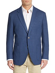 Saks Fifth Avenue Slim Fit Textured Wool Sport Coat Denim