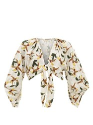 Adriana Degreas Leopard Orchid Print Tie Front Voile Shirt White Print
