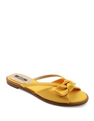 Kensie Major Bow Patterned Cutout Sandals Yellow