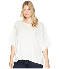 B Collection By Bobeau Plus Size Calla Knit Dolman Top Ivory Short Sleeve Pullover White